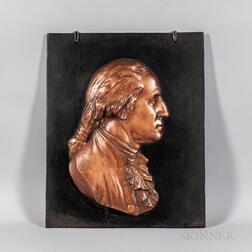 Painted Cast Bronze Plaque of George Washington