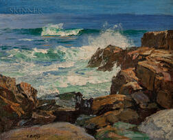 Edward Henry Potthast (American, 1857-1927)      Rocks and Surf