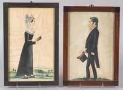 Attributed to Jacob Maentel (American, 1763-1863)      Portraits of a Lady and a Gentleman.