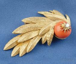 18kt Gold, Coral, and Diamond Brooch, Erwin Pearl
