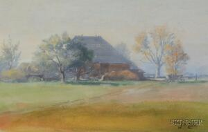 John Wesley Little (American, 1867-1923)      Lot of Three Landscape Views:  The Village in the Distance,   A Quiet Cottage