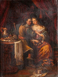 Dutch School, 17th/18th Century      Courting Couple Seated Beside a Table Laden with Food and Drink