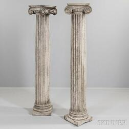 Pair of White-painted Carved Classical Columns