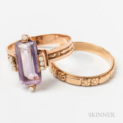 14kt Gold, Amethyst, and Seed Pearl Ring and a 14kt Gold Engraved Band