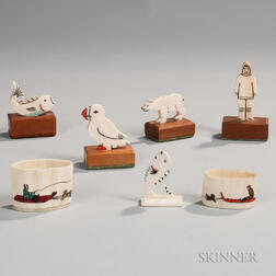 Seven Carved and Painted Whale Ivory Items