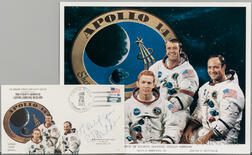 Apollo 14, Prime Crew Portrait and Two First Day Covers Signed by Ed Mitchell.