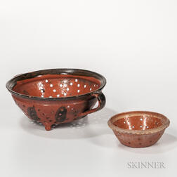 Two Glazed Redware Colanders
