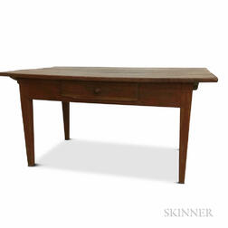 Large Red-painted One-drawer Tavern Table