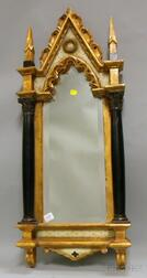Gothic-style Part-ebonized Carved Giltwood Architectural-form Mirror