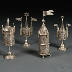 Four German-style Tower-form Spice Containers