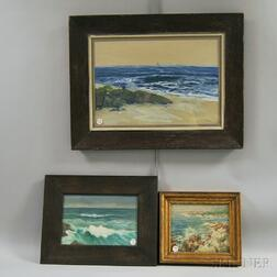 Three Framed Seascapes:      Charles E.D. Rodick (American, 19th/20th Century), Figures on the Shore