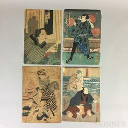 Nine Utagawa School Woodblock Prints