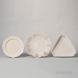 Three Staffordshire White Salt-glazed Stoneware Dishes