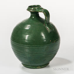 Green-glazed Earthenware Jug