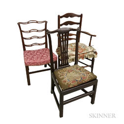 Two Chippendale Mahogany Side Chairs and a Slat-back Armchair
