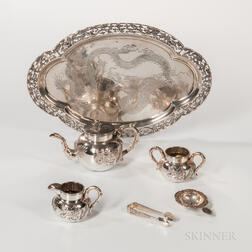 Five-piece Chinese Export Silver Tea Service
