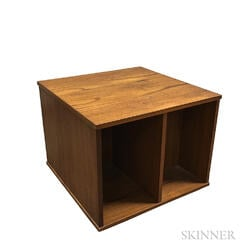 Small Vitre Teak Storage Cabinet on Casters