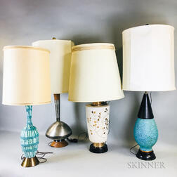 Four Midcentury Modern Table Lamps with Original Shades