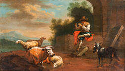 Dutch School, 19th Century      Shepherd Boy Playing a Flute with Cow, Sheep, and a Goat
