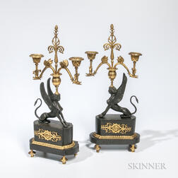 Pair of Gilded and Patinated Bronze Sphinx Candelabra