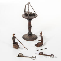 Turned Hardwood Lamp Stand, Three Lamps, and Two Pairs of Snuffers