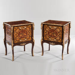 Pair of Louis XV-style Ormolu-mounted Marquetry Four-drawer Cabinets