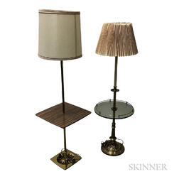 Two Brass Floor Lamps with Integrated Tables