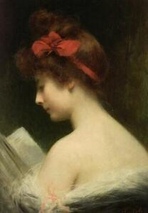 Angelo Asti (French, 1847-1903)  Portrait of an Young Woman Reading