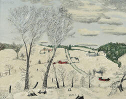 Anna Mary Robertson, called Grandma Moses (American, 1860-1961)      A Blanket of Snow