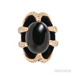 18kt Gold, Onyx, and Diamond Ring, Barbara Anton