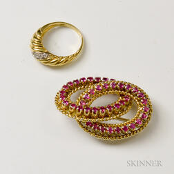 18kt Gold and Ruby Brooch and an 18kt Gold and Diamond Ring
