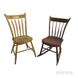 Two Paint-decorated Thumb-back Side Chairs