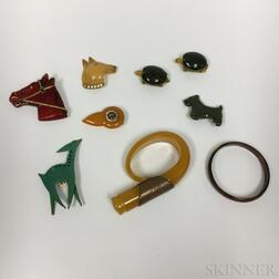 Nine Pieces of Bakelite Jewelry