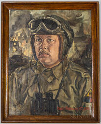 Framed Theo Bleser Tank Officer Portrait