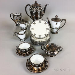 Eighteen Pieces of Mostly Bavarian Silver Overlay Tableware.     Estimate $200-400