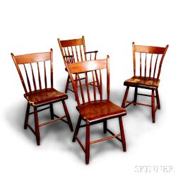 Four Maple Windsor Chairs