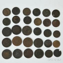 Thirty Canadian Mostly Penny and Half Penny Bank Tokens
