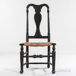 Black-painted Queen Anne Side Chair