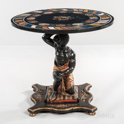 Venetian-style Blackamoor Center Table with Specimen and Micromosaic Top