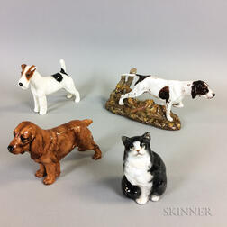 Three Royal Doulton Porcelain Dogs and a Cat