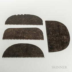 Four 19th Century Steel-toothed Mason's Saws