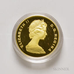 1986 Canadian $100 Proof International Year of Peace Gold Coin.