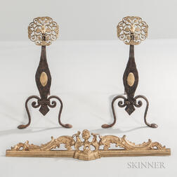 Pair of Iron and Brass Andirons with a Gilt-metal Fender