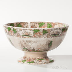 Large Transfer-decorated Ironstone Punch Bowl