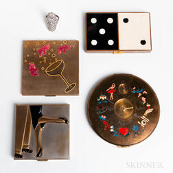Four Vintage Compacts and a Rhinestone Ring with Hidden Lipstick