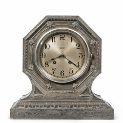 Tiffany & Co. Brushed Silvered Shelf Clock by Chelsea Clock Co.