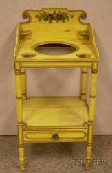Yellow Painted and Stencil Decorated Washstand.