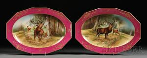 Pair of Hand-painted Limoges Porcelain Serving Platters