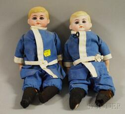 Twin American Schoolboy Bisque Shoulder Head Dolls