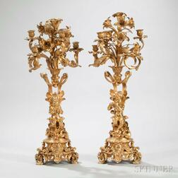 Pair of Napoleon III Gilt-bronze Five-light Figural Candelabra